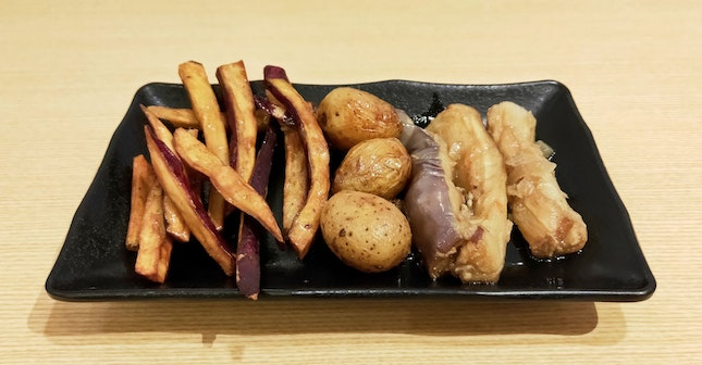 Glazed Sweet Potato Sticks, Baby Potatoes & Stir-Fried Eggplant