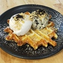 Waffle With Coconut & Cookies N' Cream Ice Cream