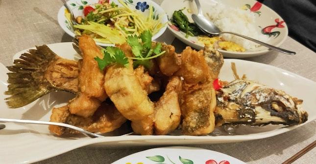 Deep-Fried Whole Sea Bass With Mango Salad