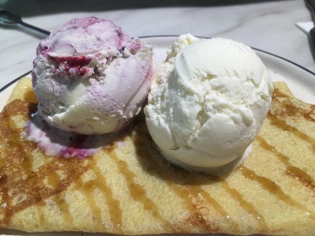Crepe With Double Scoop Ice Cream ($10+)