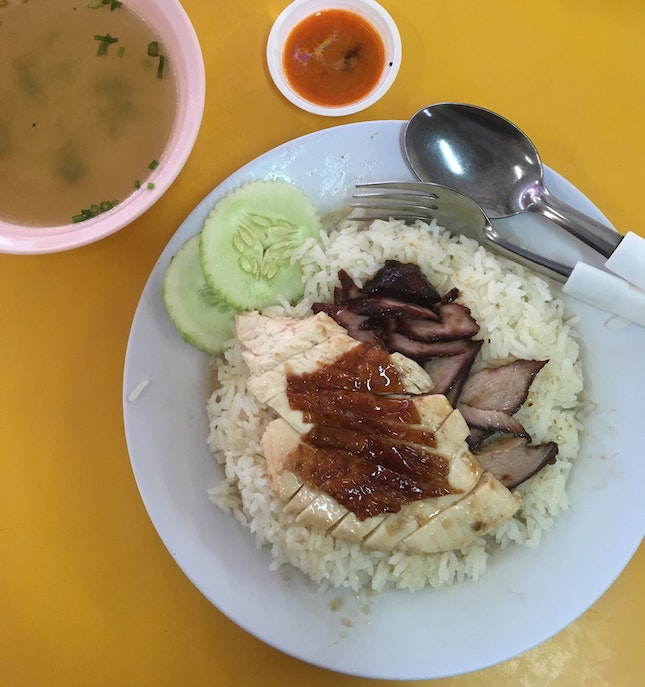 Roasted Chicken+ Char Siew Rice $4