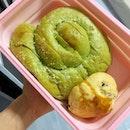 Matcha custard bread and blueberry scone