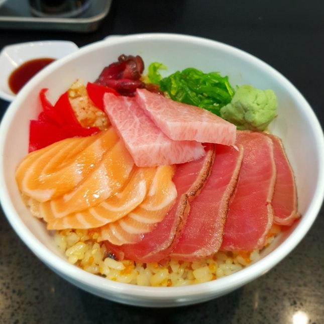 Salmon Tuna Bowl + Fatty Tuna Belly At Chirashi King Kong