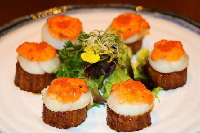 Baked Fresh Scallops with Cheese Mayonnaise & Teriyaki Brinjal, $36/6pcs