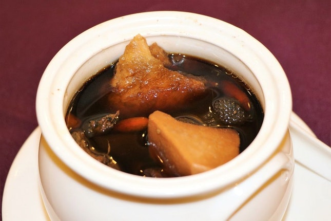 """Double-Boiled Black Chicken Soup with Black Garlic and """"Sheng Di"""""""