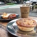 Morning with my warm pie and tarts.