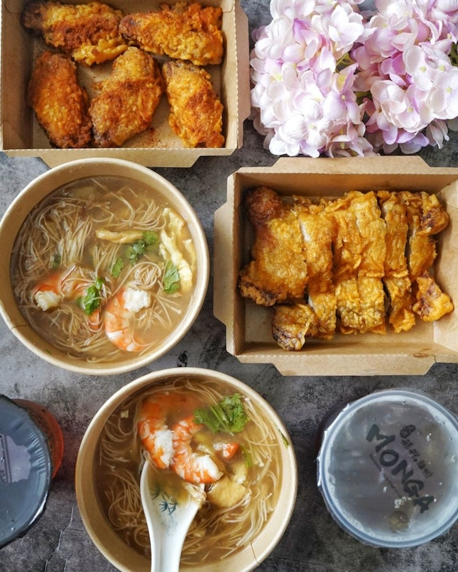 Lunch today from @mongasingapore new dish, Monga's house-made PrawnMeeSuawith Fish Maw, that available in all three outlets (JEM,  ION, SingPost) that available starting tomorrow, 2 April 2021