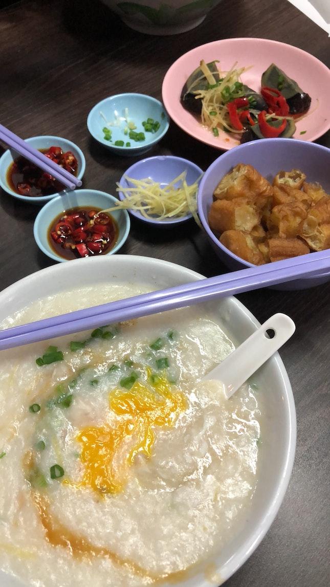 Abalone fish porridge with egg ($5)