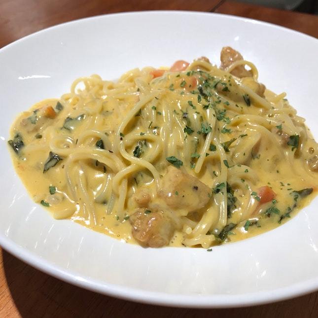Salted Egg Chicken Pasta