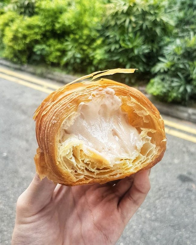 The base of the taro mochi croissant itself was already great: a mix of flakey butteriness with a dense doughey centre.