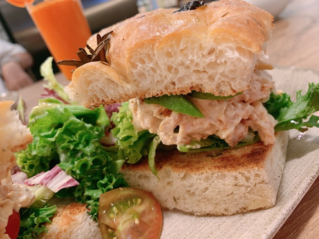 Grilled Pulled Chicken Breast Foccacia With Avocado