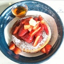 Atlas Coffeehouse,Strawberry Maple Pancake,with fresh strawberry fruits and fluffy pancake.