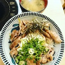 At Gochi-So Shokudo having Pork Shoulder Don with Miso Soup and mix your own salad.