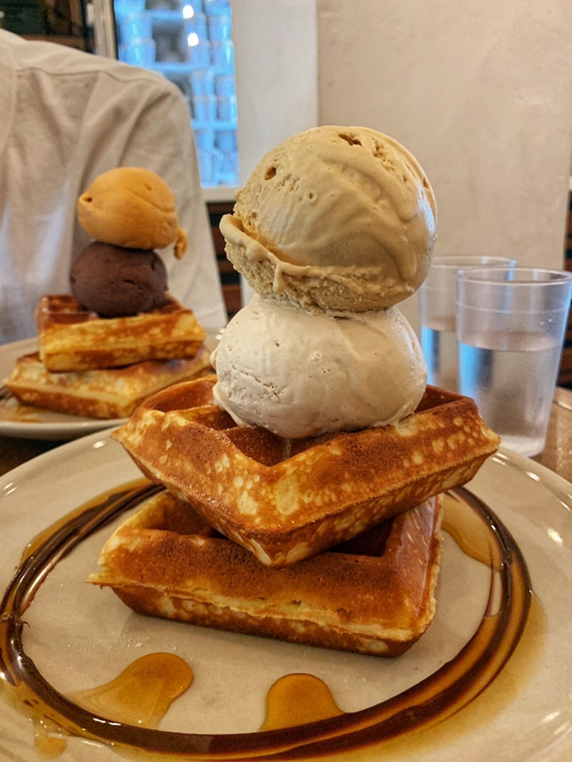 waffles w/ double scoop ($9.30 + $3.30)