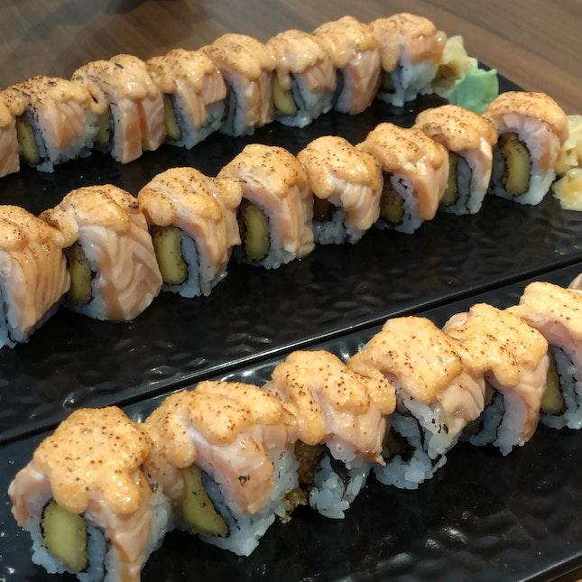 salmon mentaiko sushi roll ~$17++