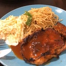 BBQ chicken with aglio olio and coleslaw $7.5