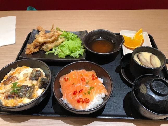 Set meal with salmon don, unagi don, soft shell crab, chawanmushi, miso soup $22.9++