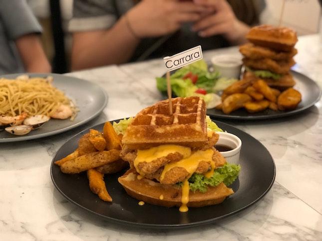 Salted Egg Chicken Waffle $13.9, Chicken Waffle $12.9
