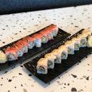Salmon Aburi Roll $17+, Salmon Mentai Roll $17+