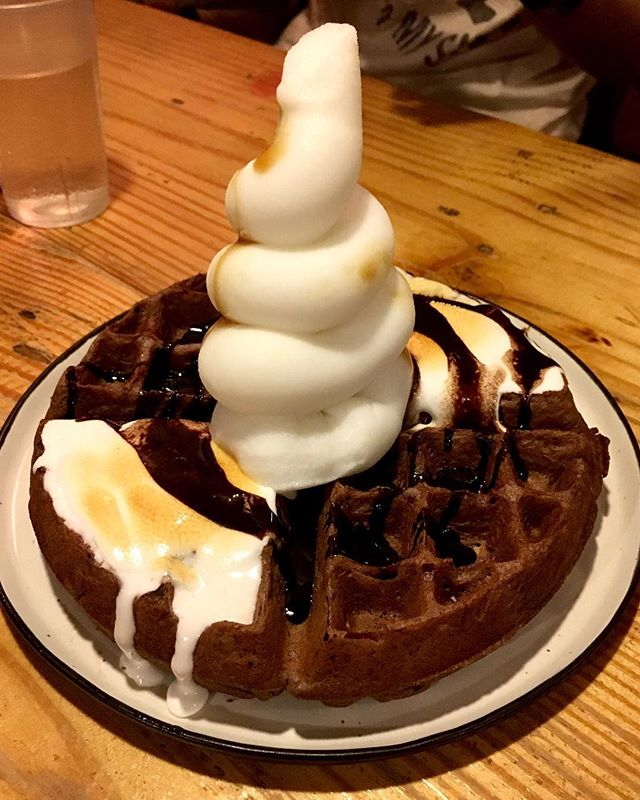 Stateland's Smores Waffles w Brother bird's coconut water soft serve.