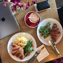 Croissant with Scrambled Eggs / Ham & Cheese ($11), Mocha ($6)