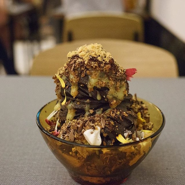 Dark Chocolate Sundae | dark chocolate ice cream, passionfruit curd, raspberry puree, hazelnut crumb, honeycomb, chocolate crumb, whipped cream