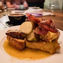 Savoury French Toast with braised apple, bacon, hazelnut butter & syrup
