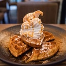 Cinnamon Waffles with Coconut Soft Serve