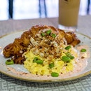 Maui Dream | jumbo crab lumps, mentaiko cream, toasted croissant, edamame, chilli scrambled eggs, cheese, tobiko