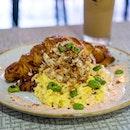 Maui Dream | jumbo crab lumps, mentaiko cream, toasted croissant, edamame, chilli scrambled eggs, cheese, tobiko