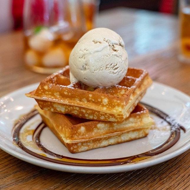 Waffles with Sea Salt Gula Melaka Ice Cream