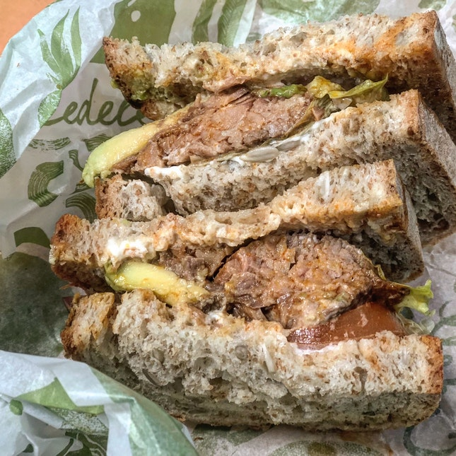 Pulled Beef And Avocado Sandwich