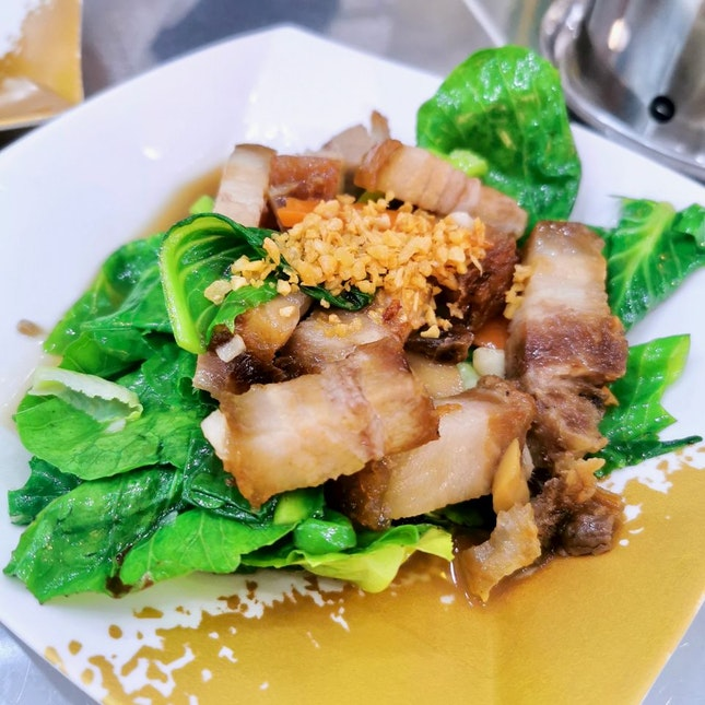 Stir Fried Kailan with Roasted Pork