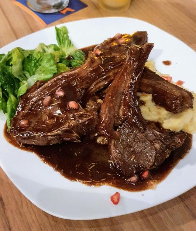 French lamb rack ($32) Black Angus ribeye Steak ($32) Duck leg ($25)