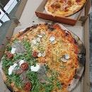 """XXL 21"""" Speciale Pizza - Frutti di Mare and Burrata & Proscuito ($62) & L 12"""" Speciale Pizza -- Carne ($28)"""
