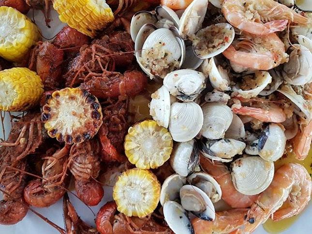 Crawfish, Clams, and Prawns.