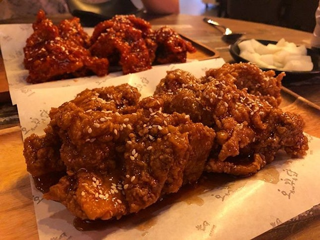 If your chicken is still crispy and succulent after all the sauces, you know it's a good Korean chicken.