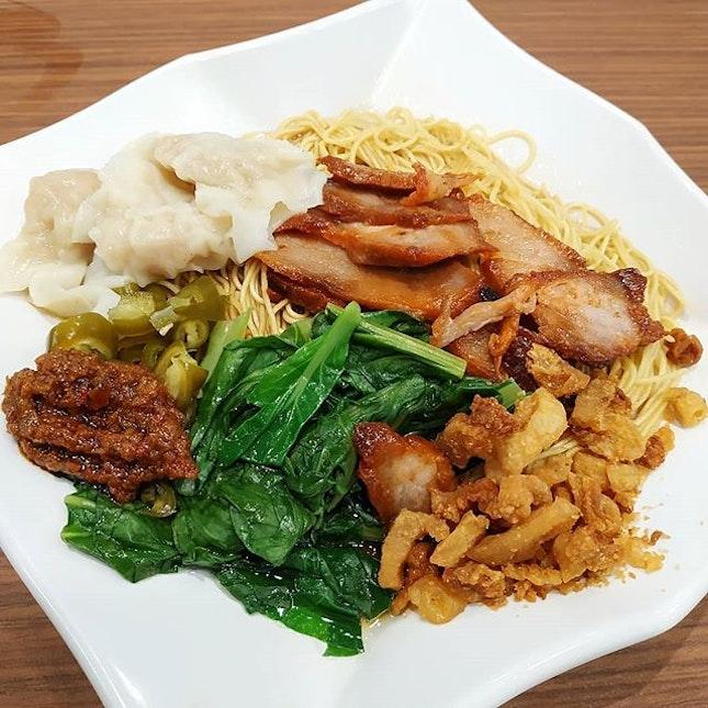 Wontons noodles and crispy pork lard  #lunch