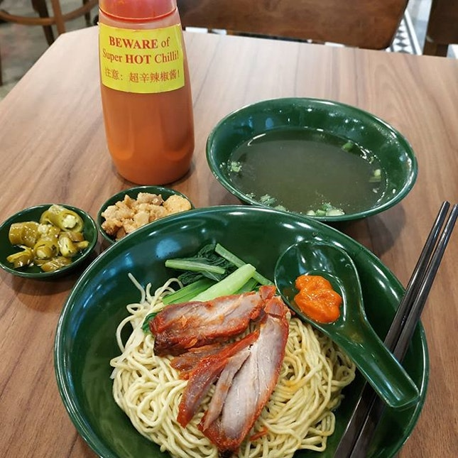 Not sure if I'm here for the noodles, spicy chilli or pork lard.