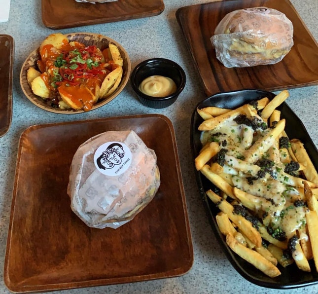 Fun Boy 3 ($23) Truffle Cheese Fries ($19) Naughty Fries Jr ($9)
