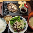 Hamburger set  Thus Japanese restaurant served soft and delicious hamburger with rice.
