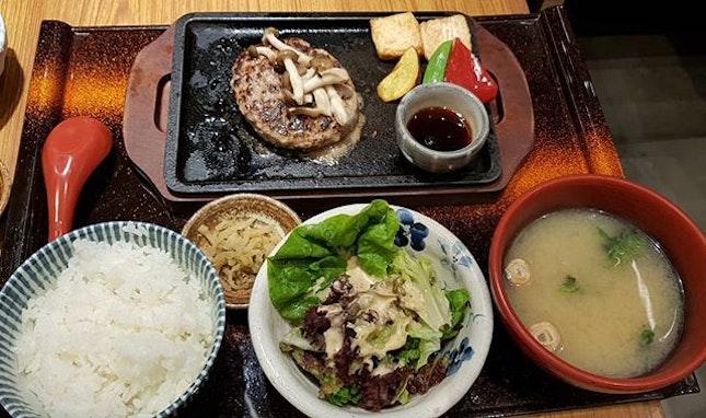 Hamburger set  Thus Japanese restaurant served soft and delicious hamburger with rice.