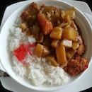 Curry katsu-don.