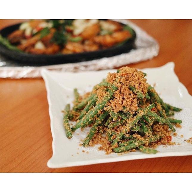 I've Bean thinking of you, stir-fried shrimp beans from Ju Feng Garden Kitchen!