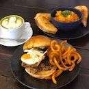 Umami Pork Burger And Chilli Crab Scrambled Egg