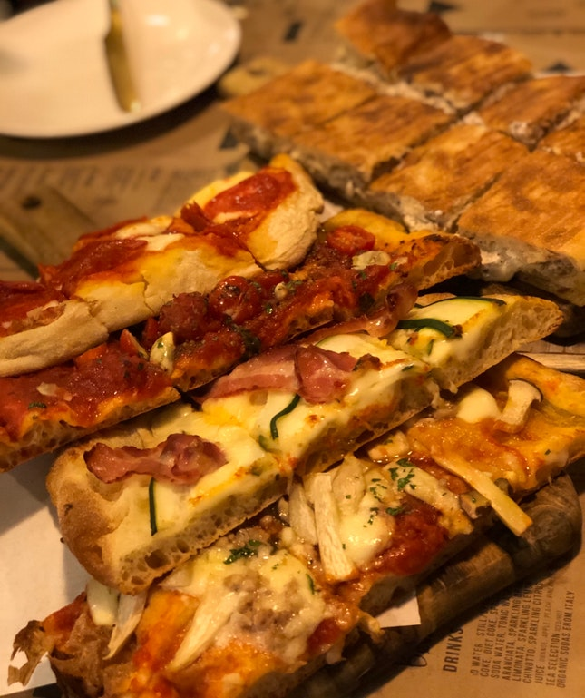 Assorted Pizzas, Schiacciata, Mixed Seafood Platter, Porchetta, Burrata And Tagliolini