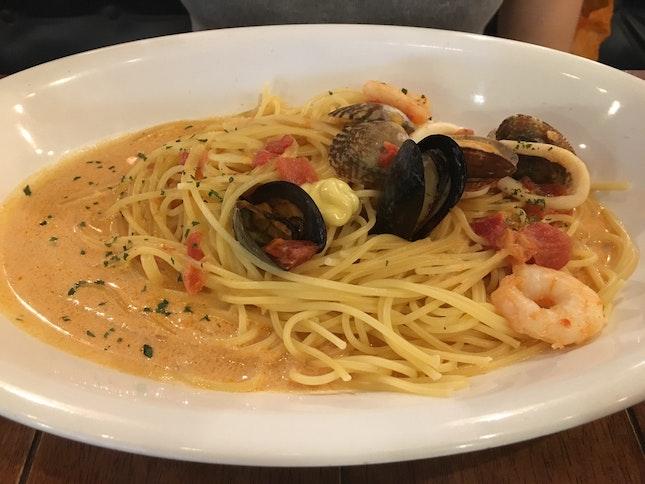 Seafood Tomato Cream Pasta