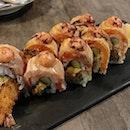 Ebi Fry Salmon Aburi 👍🏻👍🏻👍🏻👍🏻 $17.9++ .