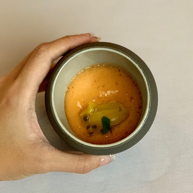 Passionfruit Sorbet With Carrot Foams