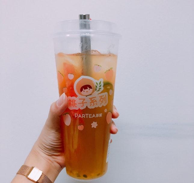 Jasmine Fruit Tea (less sugar, $5.50)